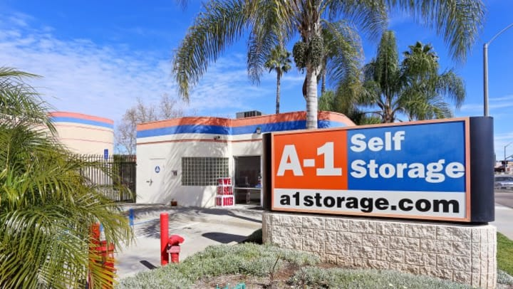 The entrance to A-1 Self Storage in El Cajon on West Main Street is adorned with beautiful trees and bushes, and of course our facility sign and front office.