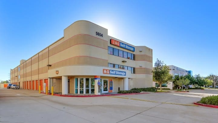 The front office at A-1 Self Storage in Kearny Mesa, California, is located in the front corner of the facility for ease of access.