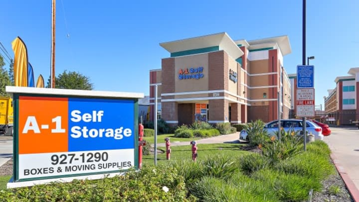 The front sign is position in the front of the A-1 Self Storage facility in Bell Gardens, California.