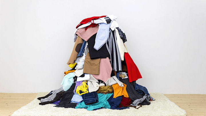 big pile of clothes needing places to sell clothes in Atlanta