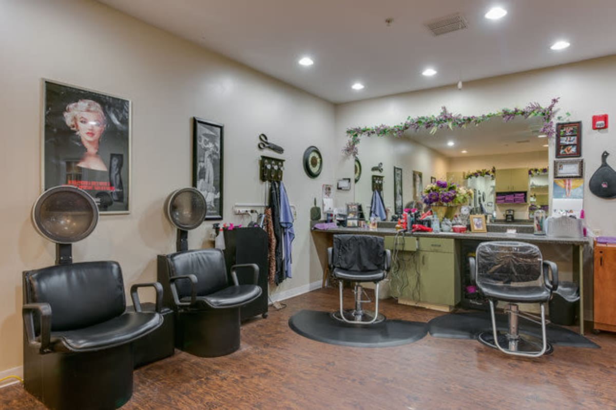 A couple seniors enjoying the salon at Town Village in Oklahoma City, Oklahoma