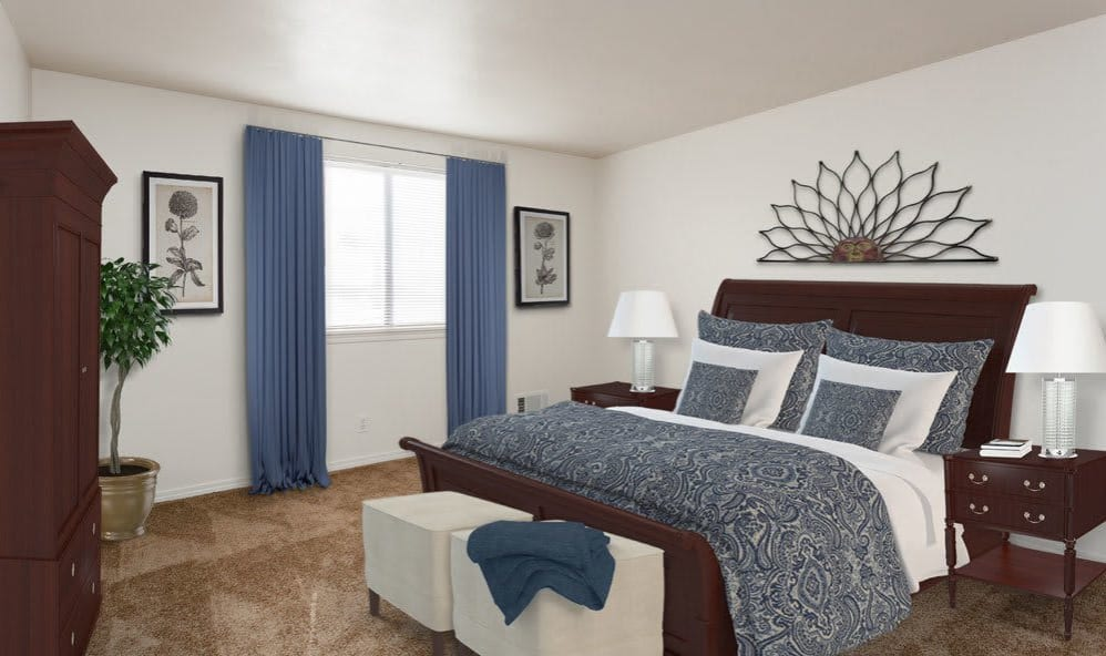 Cozy bedroom at East Ridge Manor Apartments in Rochester, New York