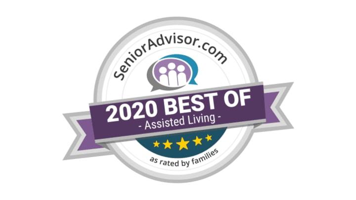 SeniorAdvisor.com Best Assisted Living of 2020 Award on white background