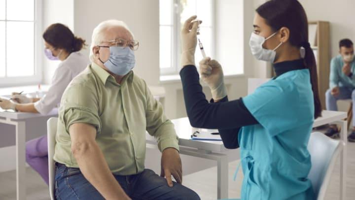 Nurse holding Covid Swab