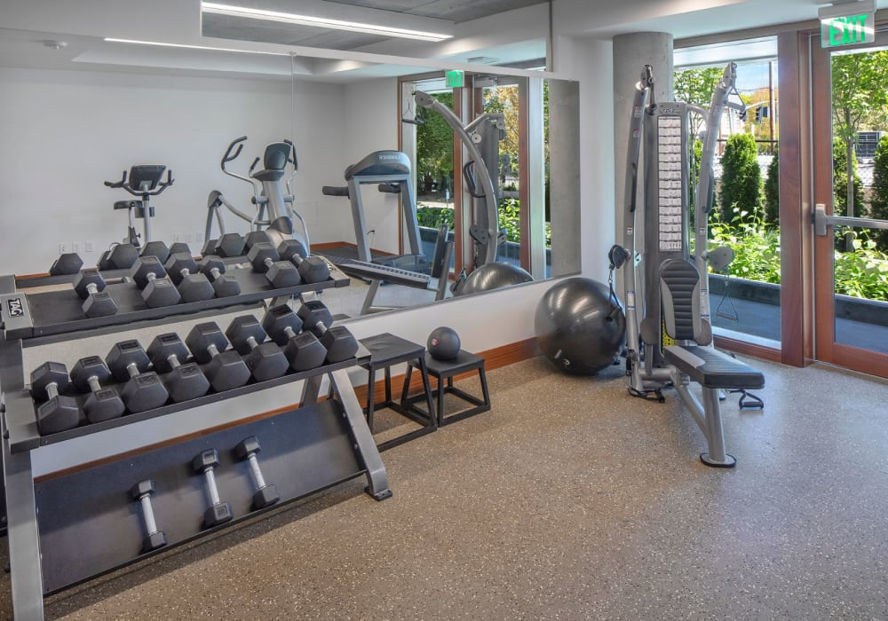 Fully equipped fitness center at Overlook Park in Portland, Oregon