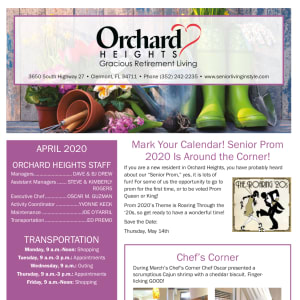 April Orchard Heights Gracious Retirement Living Newsletter