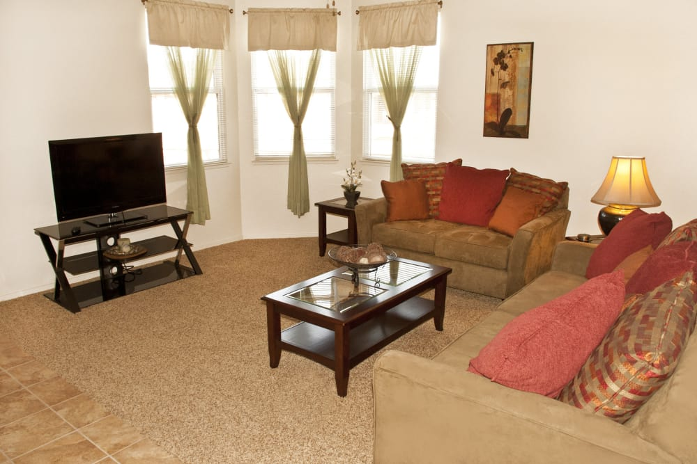 Spacious living room at Villa Risa Apartments in Chico, California