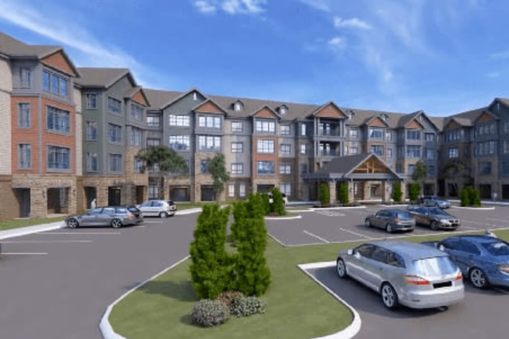 A rendering of the building exterior of Harmony at Greensboro in Greensboro, North Carolina