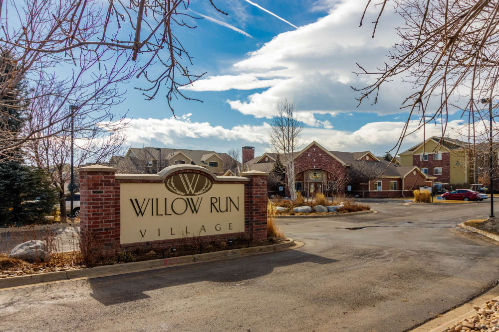 Signage at Willow Run Village Apartments