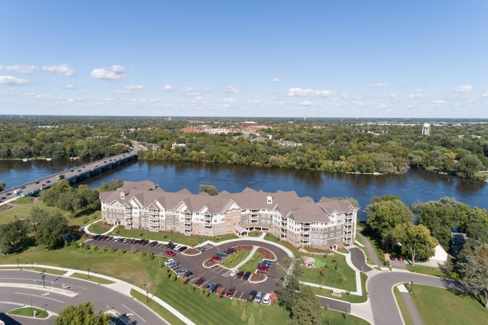 Aerial view of Applewood Pointe Champlin at Mississippi Crossings in Champlin, Minnesota.