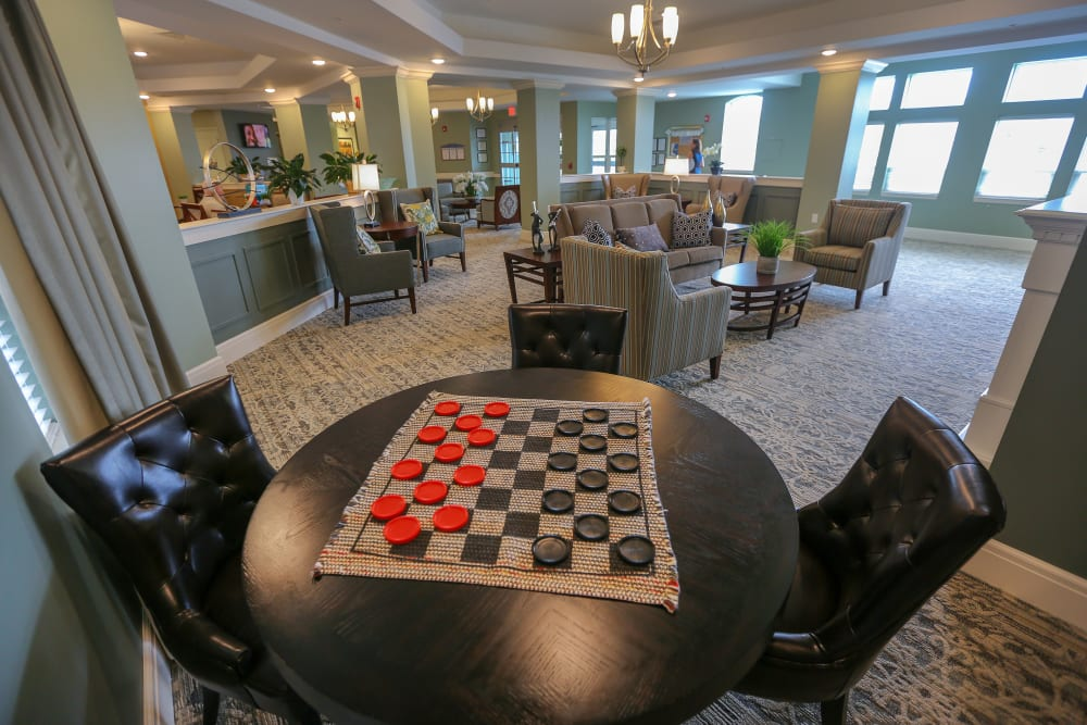 A checkers table in the activity room at Harmony at Spring Hill in Lorton, Virginia