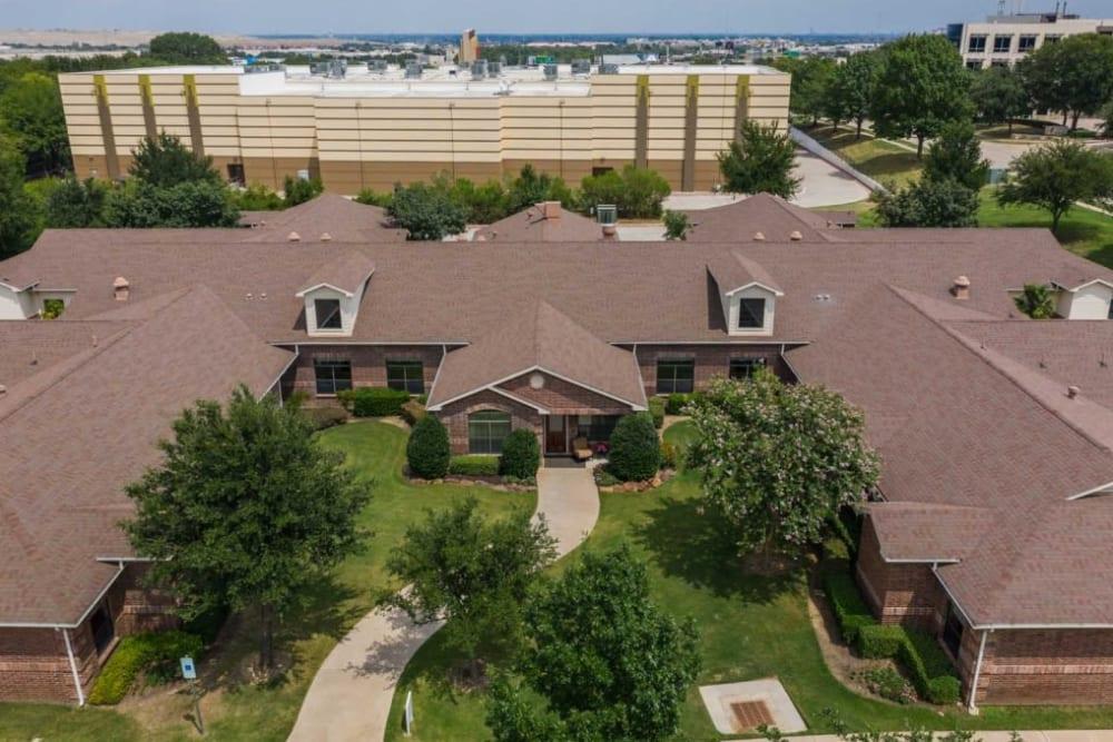 Aerial of RockBrook Memory Care in Lewisville, Texas