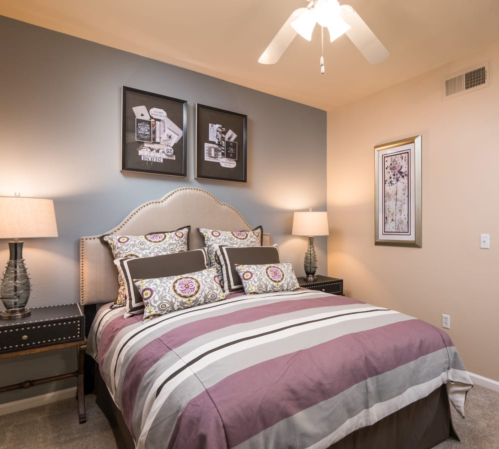 Spacious main bedroom at Esplanade Apartment Homes in Riverside, California