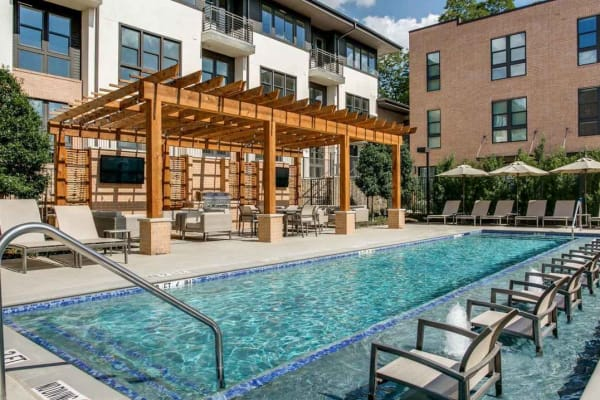 Sparkling swimming pool at Atwood at Ellison in Dallas, Texas