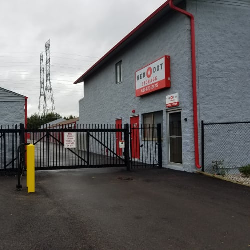 Secure entrance to Red Dot Storage in North Aurora, Illinois