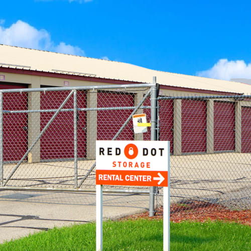 Entrance gate at Red Dot Storage in Janesville, Wisconsin
