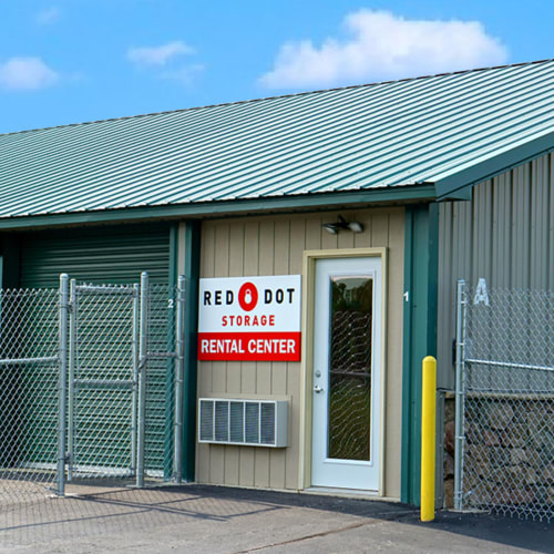 Outdoor storage units at Red Dot Storage in Genoa City, Wisconsin