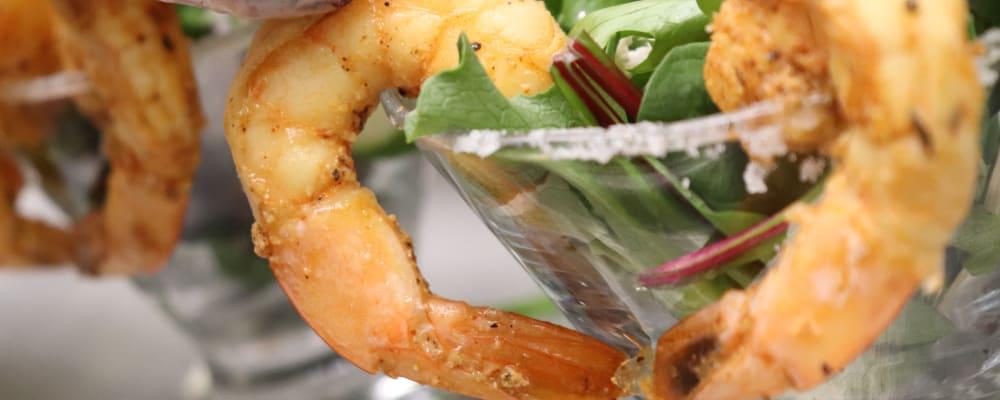 Ornate shrimp dish at The Springs at Whitefish in Whitefish, Montana