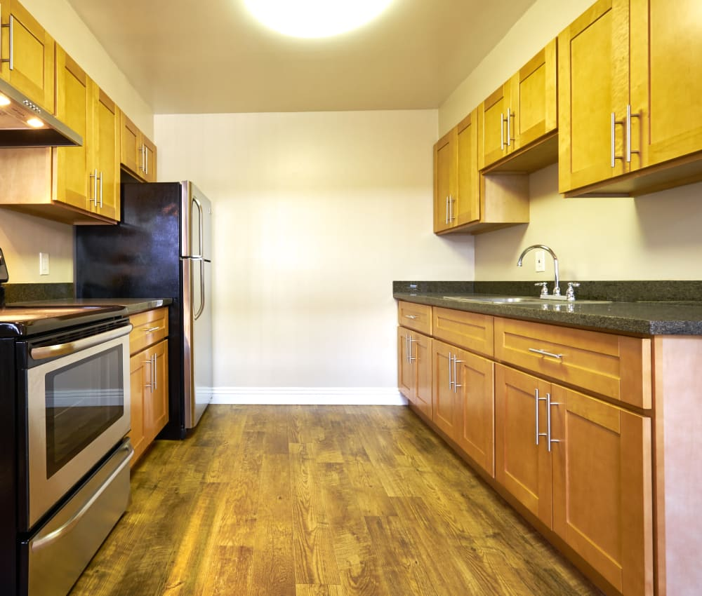 Kitchen with plenty of counter-space at Palms at the Pruneyard in Campbell, California