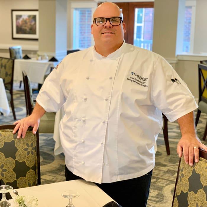 A chef at Harmony at Harts Run in Glenshaw, Pennsylvania