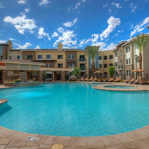 Palm trees around the pool at Vistara at SanTan Village in Gilbert, Arizona