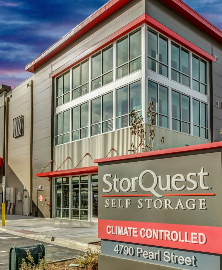 Branding and signage at StorQuest Self Storage in Boulder, Colorado