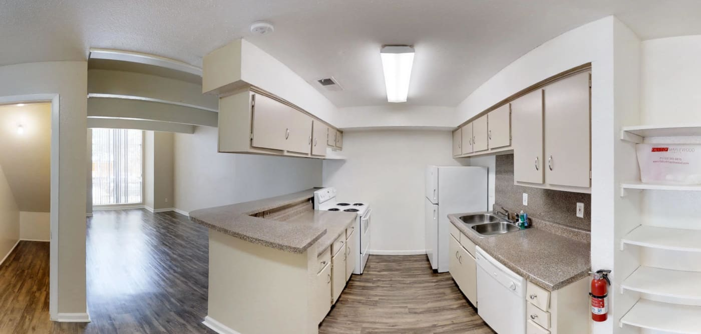 Kitchen 360 view at Falls of Maplewood Apartments