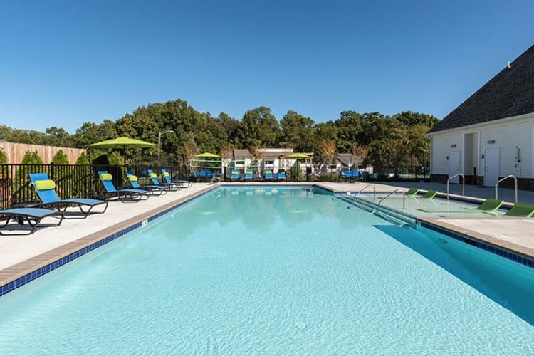 Sparkling swimming pool at The Residences of Westover Hills on a beautiful day in Richmond, Virginia