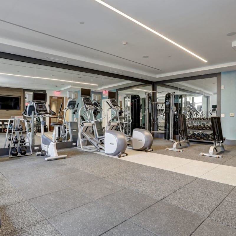 A fitness center with lots of individual workout stations at Solaire 7077 Woodmont in Bethesda, Maryland