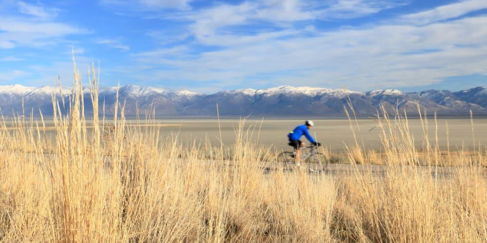 Residents biking around near Hawthorne Townhomes in South Salt Lake, Utah