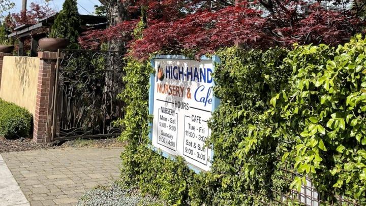 High Hand Nursery & Cafe Sign