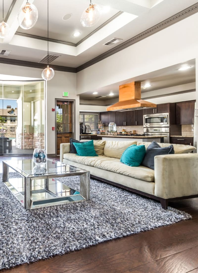 Inside the resident clubhouse at Marquis at Town Centre in Broomfield, Colorado