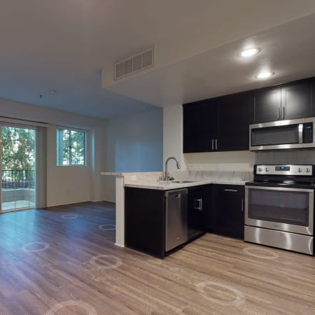 View a virtual tour of our studio apartments at L'Estancia in Studio City, California