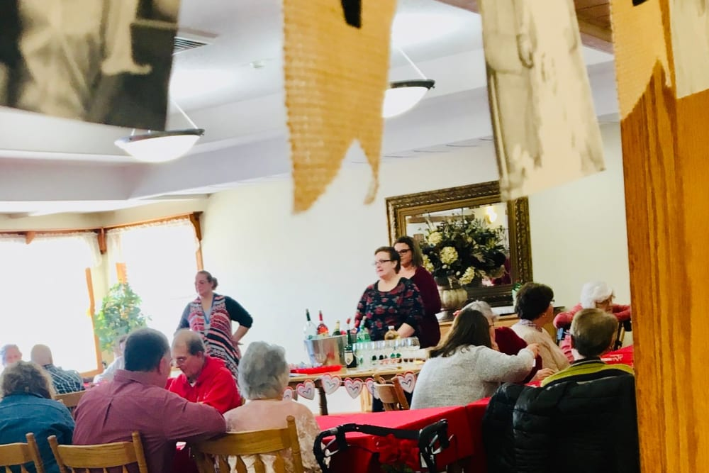 Residents enjoy wine tasting at Prairie Hills in Independence, Iowa.