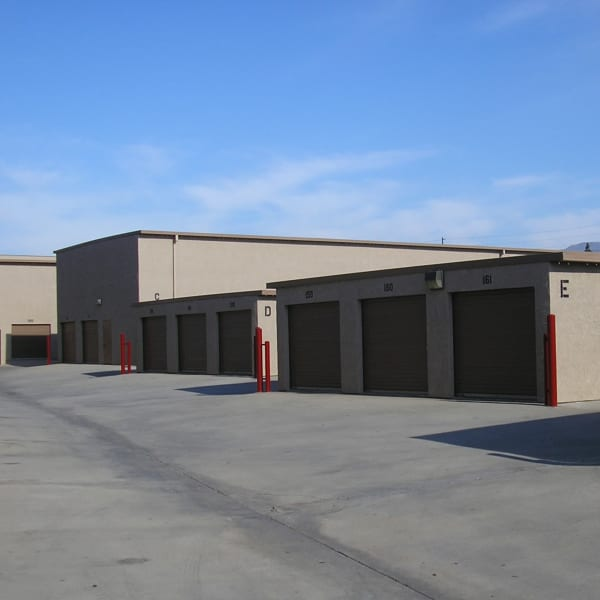 Outdoor storage units with drive-up access at StorQuest Self Storage in San Fernando, California