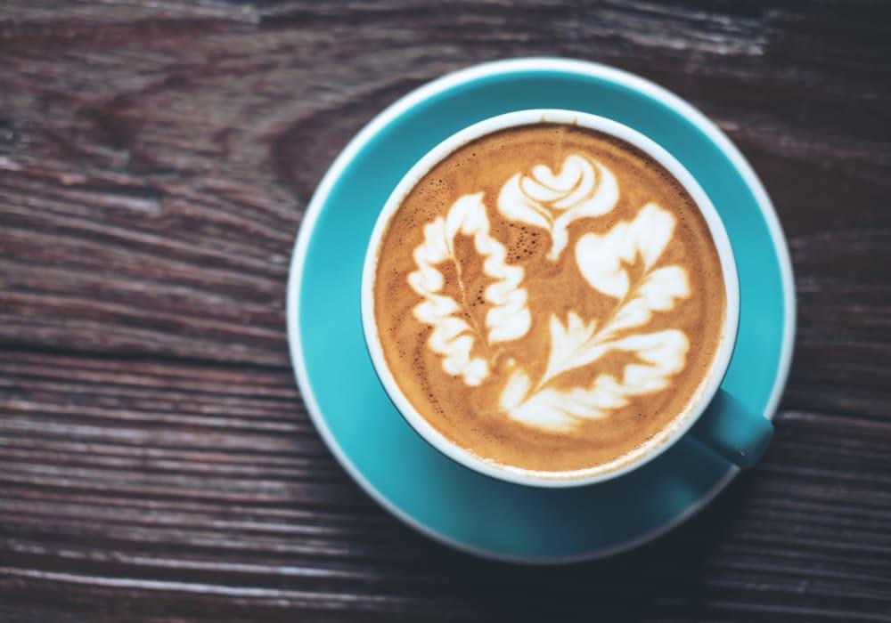 Artfully presented latte at a café near Village Pointe in Northridge, California