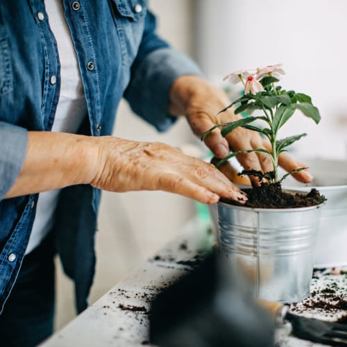 A resident gardening at Golden Living in Taylorsville, Utah.
