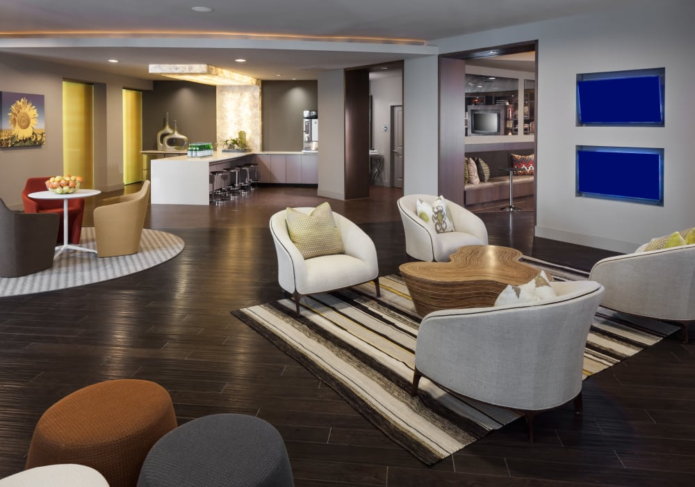 Clubhouse interior at Maple District Lofts in Dallas, Texas