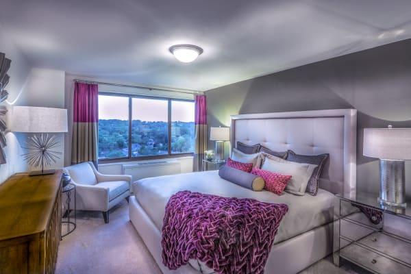 Model bedroom at Crystal House in Arlington, Virginia