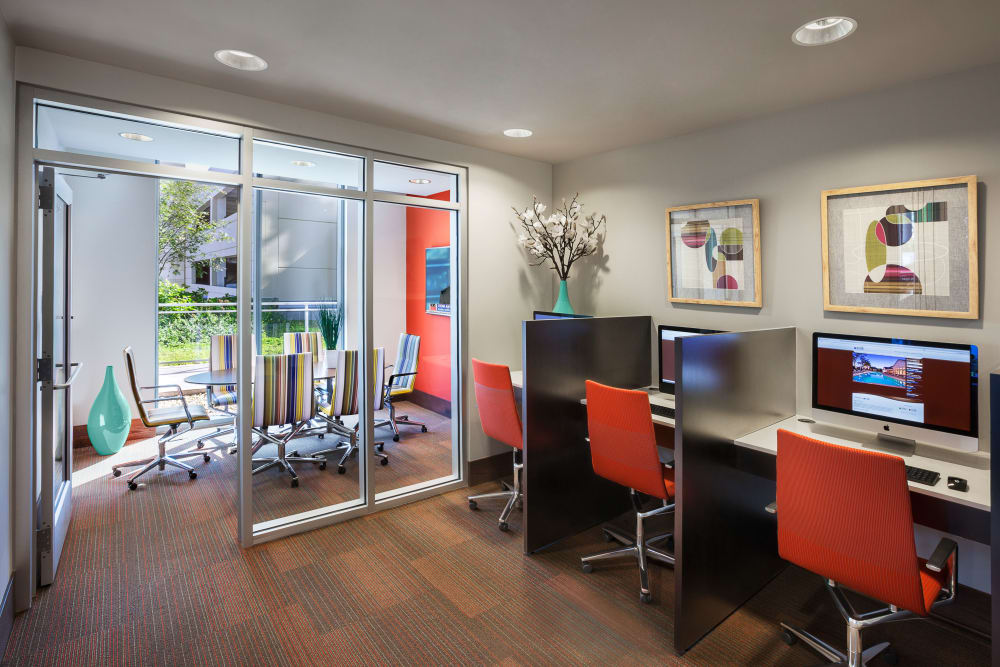 Business center with privacy at The Residences at NEWCITY in Chicago, Illinois