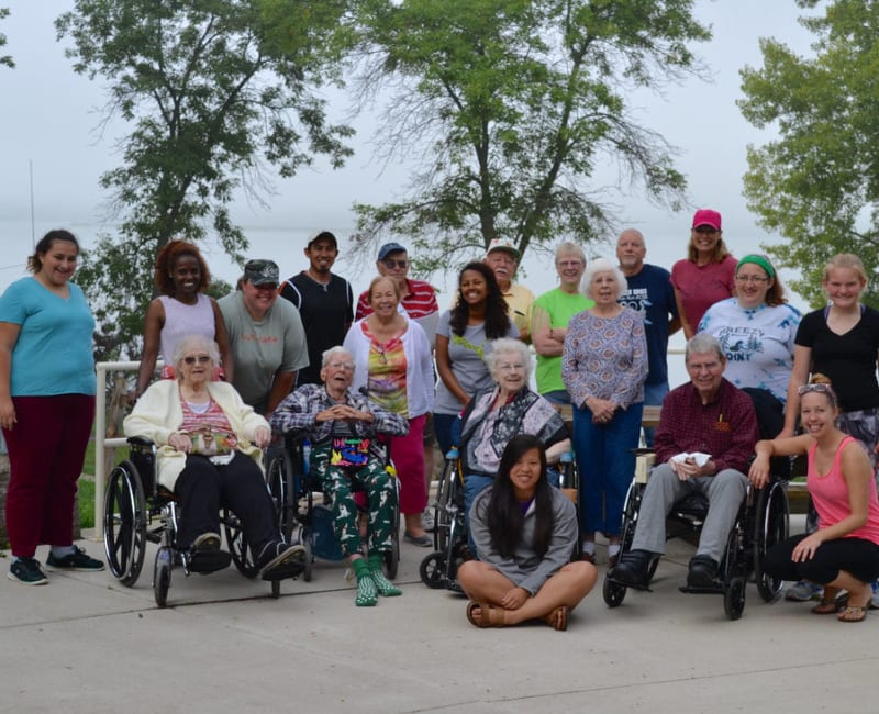 A group of residents on an outing near Ebenezer Ridges Campus in Burnsville, Minnesota