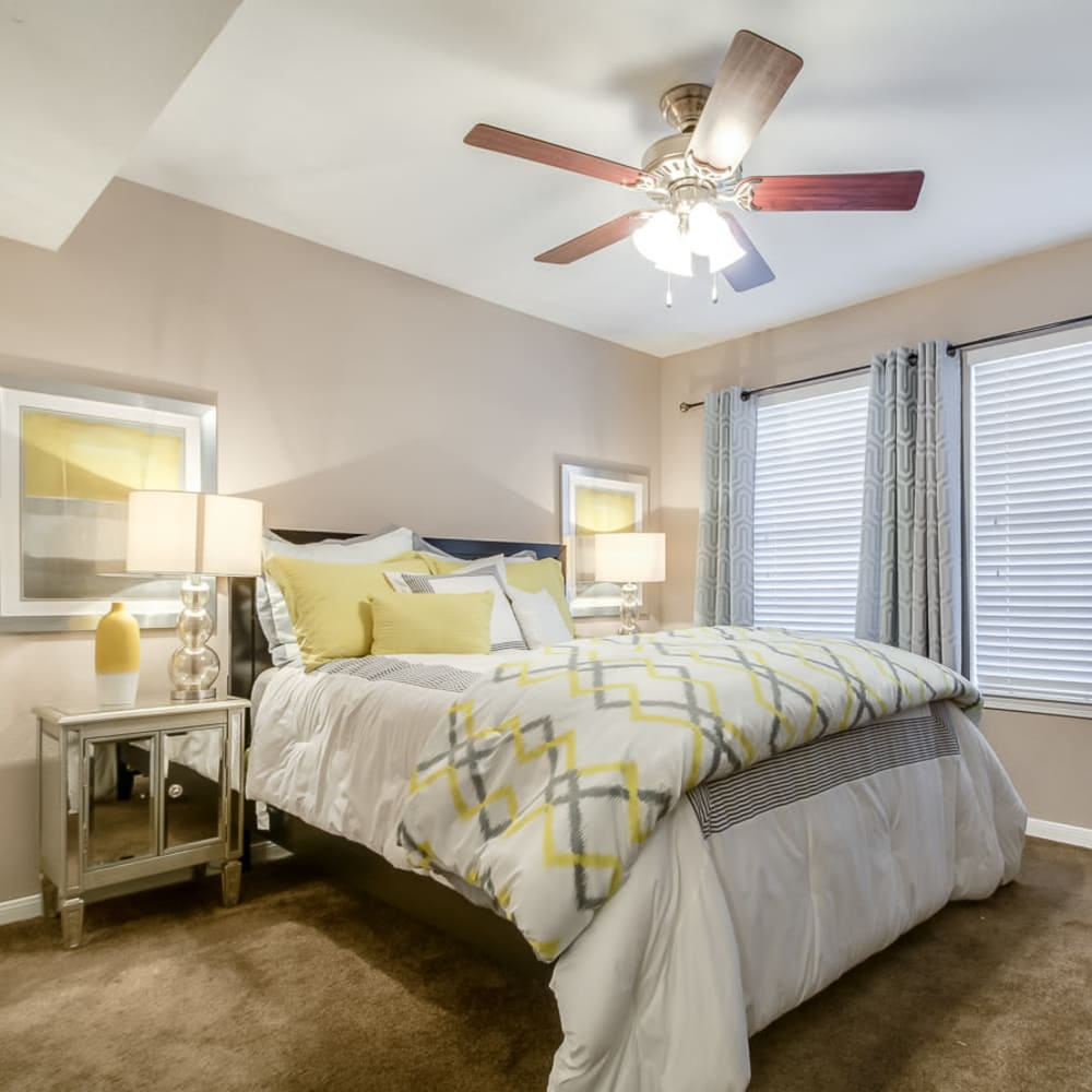 Large master bedroom with walk-in closet at Hayden at Enclave in Houston, Texas