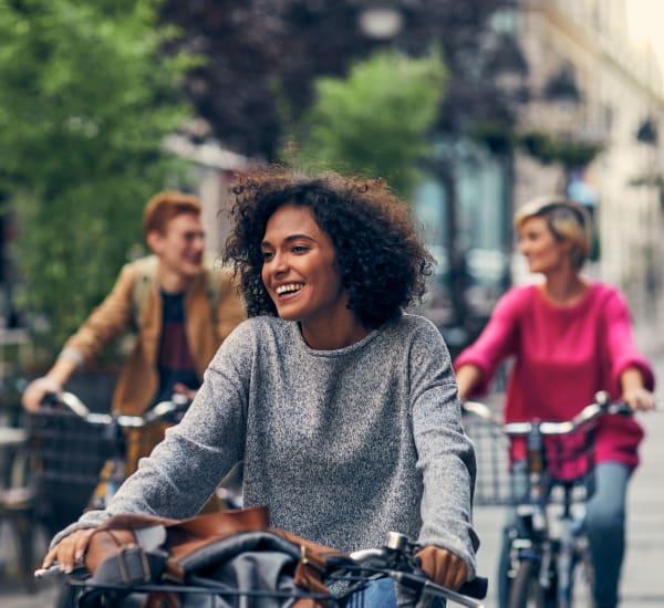 Friends biking around town near Heights West 11th in Houston, Texas