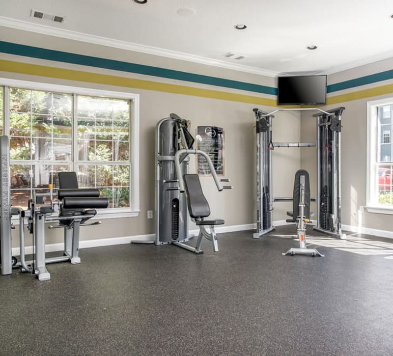 Fully equipped fitness center at Eastwood Village in Stockbridge, Georgia