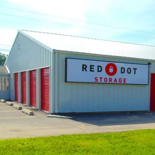 Outdoor storage units at Red Dot Storage in Huntsville, Alabama