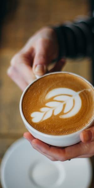 Beautifully presented latte at a café near Larkspur Woods in Sacramento, California