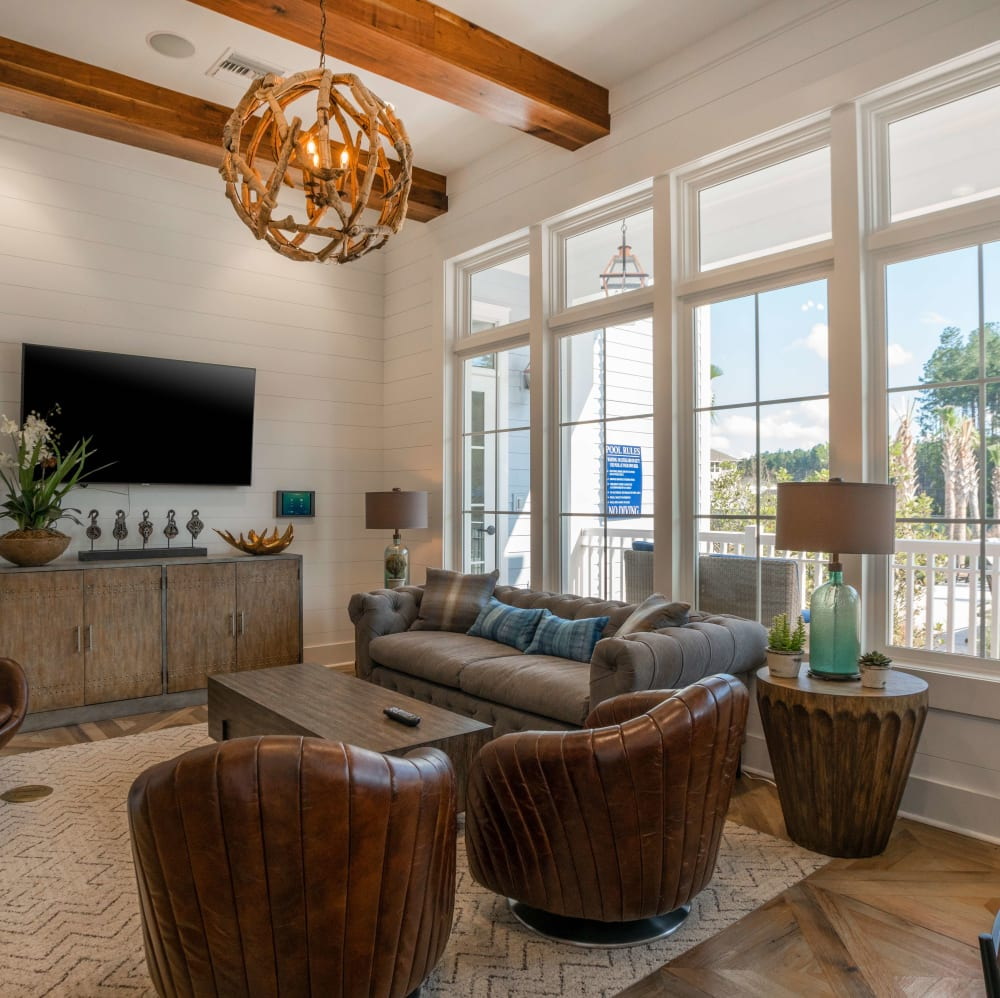 Private room for resident hangouts at Elevate at Brighton Park in Summerville, South Carolina