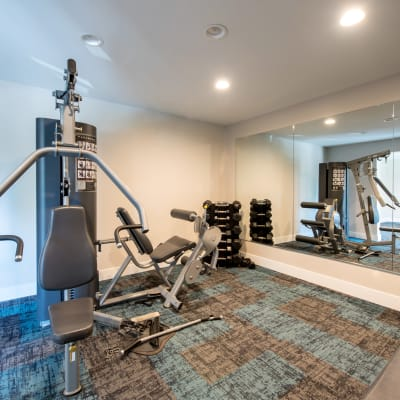 Exercise machines and free weights in the fitness center at Sofi Thousand Oaks in Thousand Oaks, California