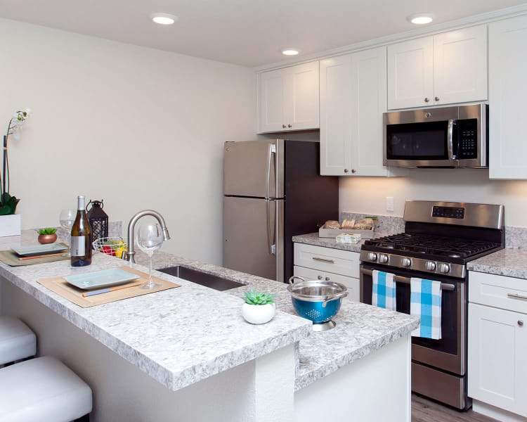 Stainless-steel appliances and granite countertops in model home kitchen at The Arlington in Burlingame, CA