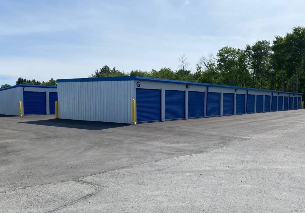 Outdoor drive-up access storage units at Vault Self Storage in Holland Landing, Ontario